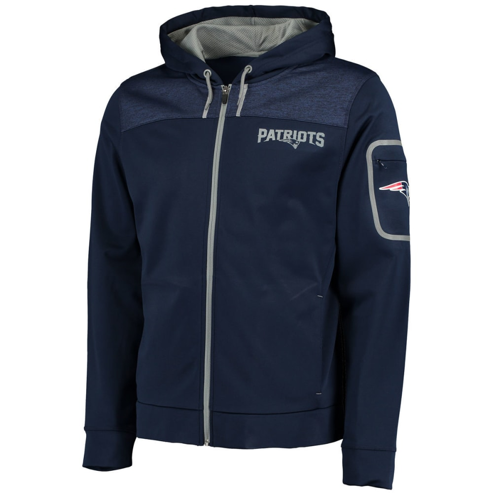 NEW ENGLAND PATRIOTS Men's Game Elite Fleece Full-Zip Hoodie - NAVY