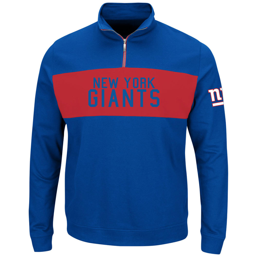 NEW YORK GIANTS Men's Goal Line ¼ Zip Fleece Pullover - ROYAL BLUE