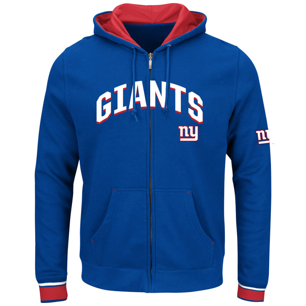 NEW YORK GIANTS Men's Anchor Point Royal Full-Zip Fleece Hoodie - ROYAL BLUE