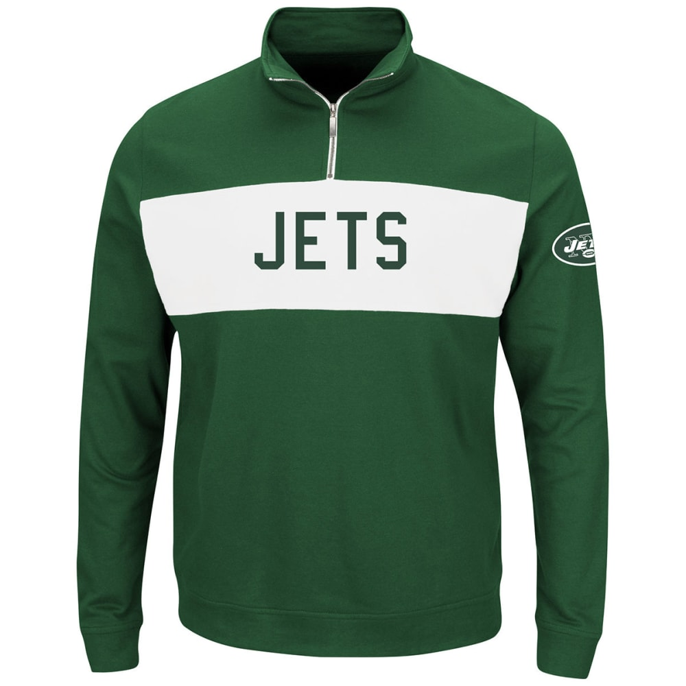 NEW YORK JETS Men's Goal Line ¼ Zip Fleece Pullover - GREEN