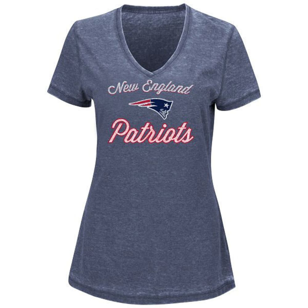 NEW ENGLAND PATRIOTS Women's Game Day Short Sleeve Tee - HEATHER NAVY