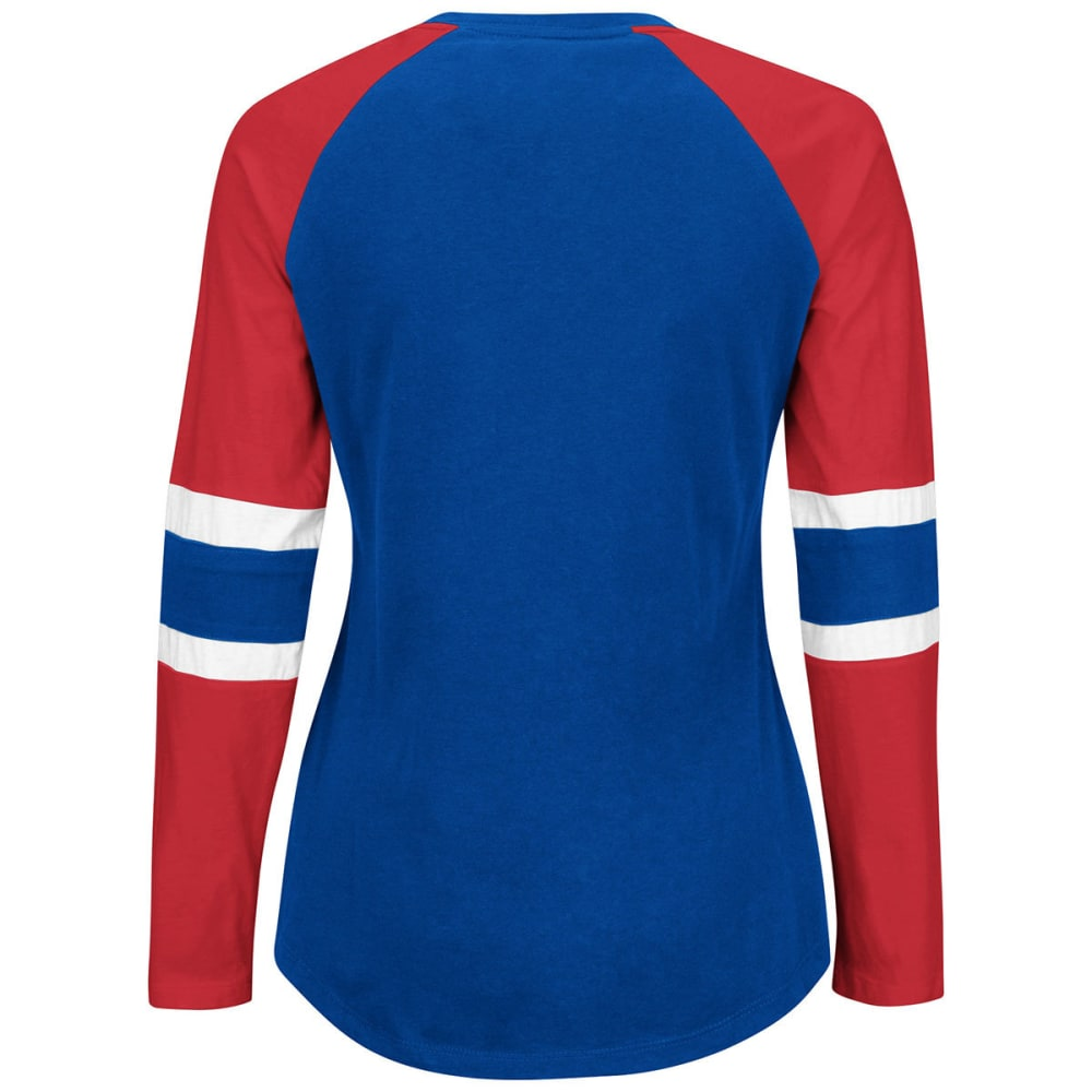 NEW YORK GIANTS Women's Winning Style Laces Tee - ROYAL BLUE/RED