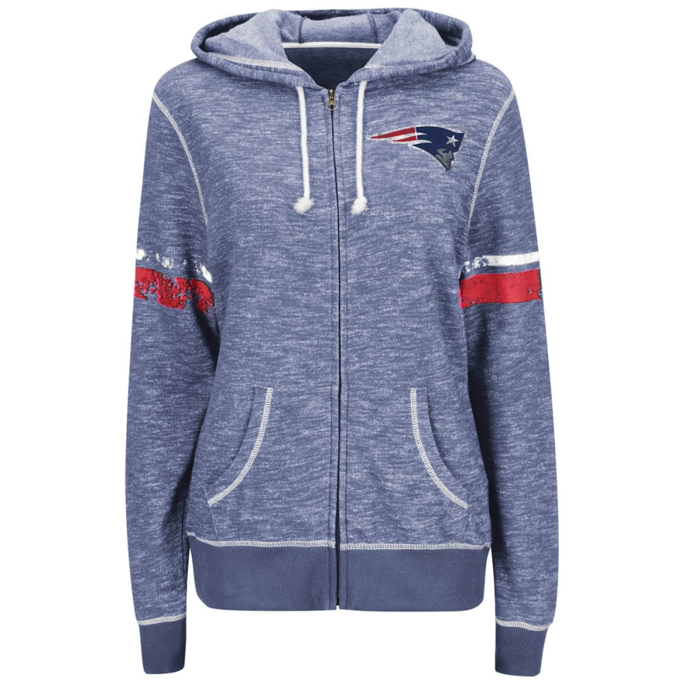 NEW ENGLAND PATRIOTS Women's Athletic Tradition Full-Zip Fleece Hoodie - HEATHER NAVY