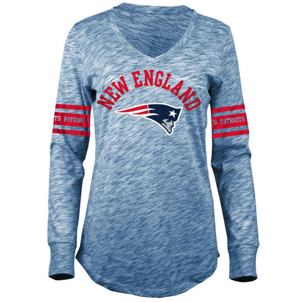 NEW ENGLAND PATRIOTS Women's Space-Dye Striped Long-Sleeve Tee - NAVY