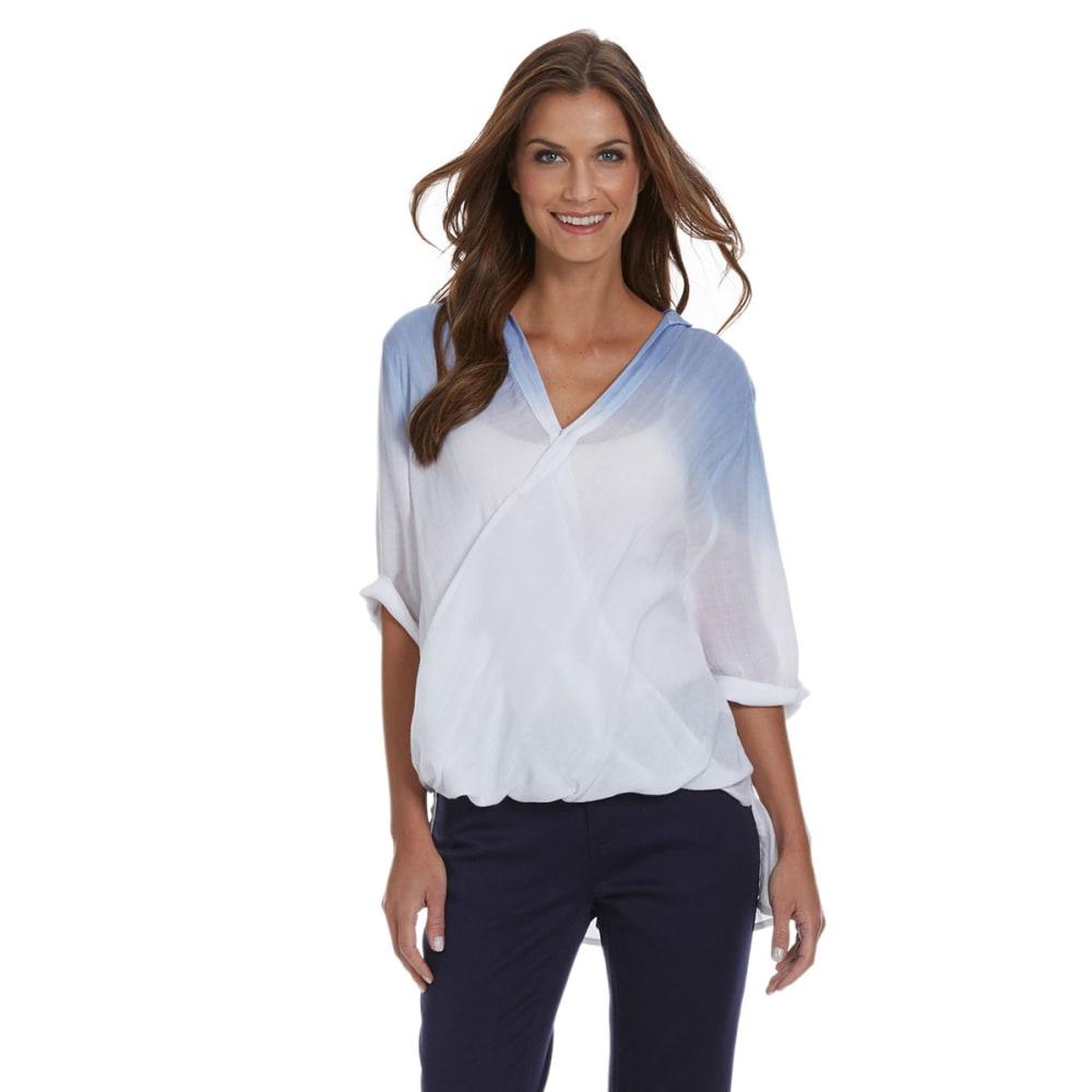 TIMELESS FASHIONS Women's Dip-Dye Surplice Woven Top - BLUE