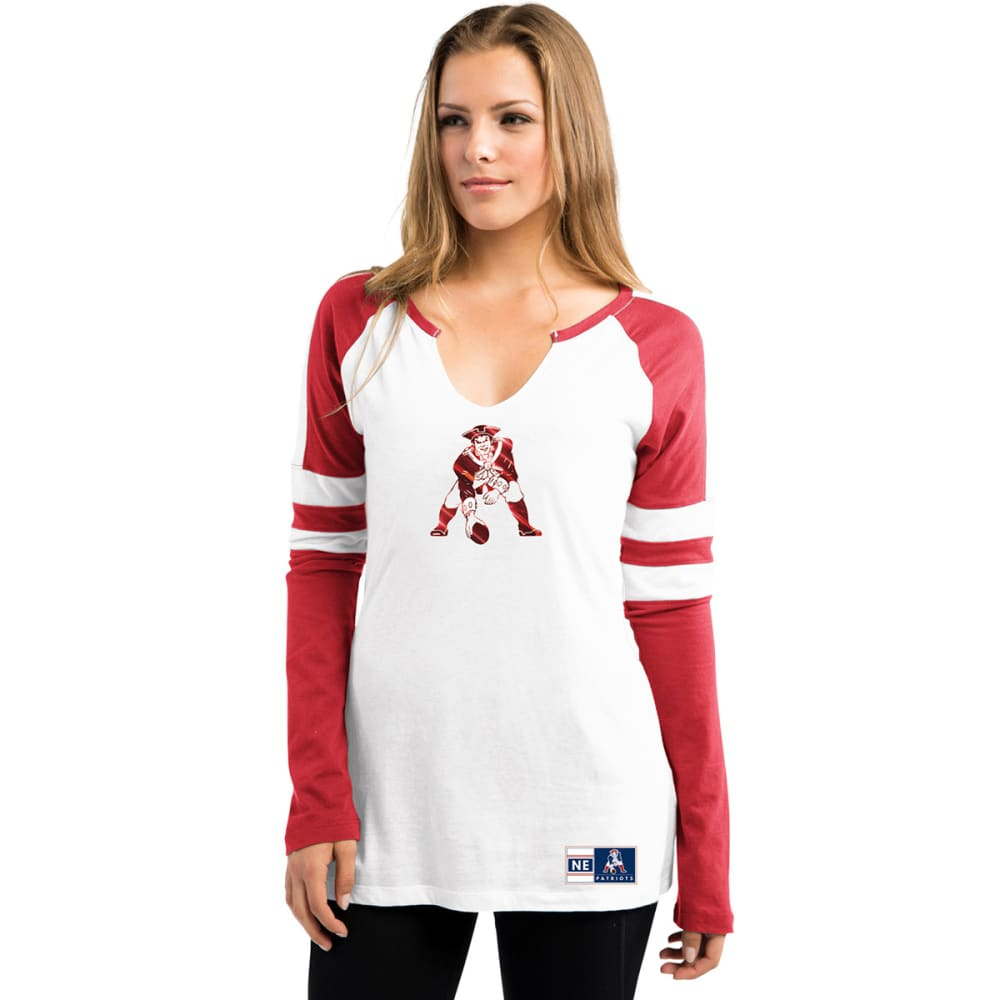 NEW ENGLAND PATRIOTS Women's Coin Toss Long Sleeve Tee - RED
