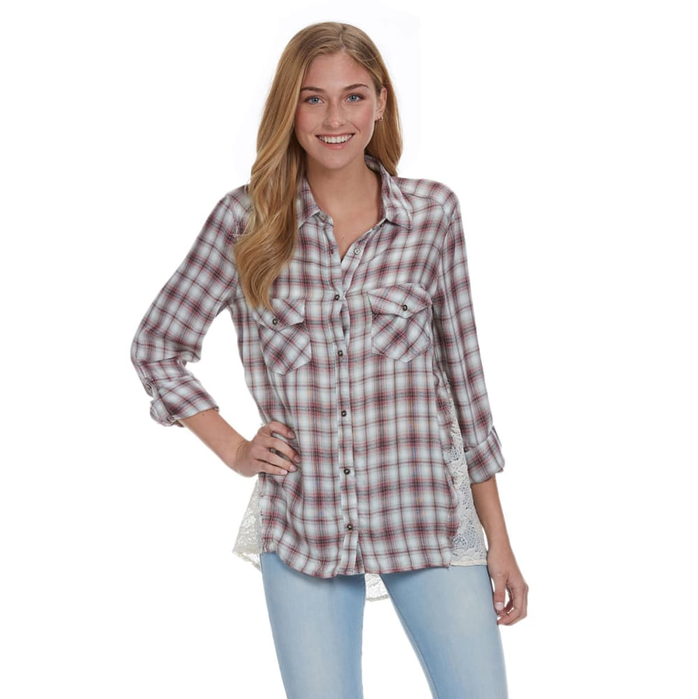 TAYLOR & SAGE Juniors' Plaid Lace Back Shirt - MAUVE