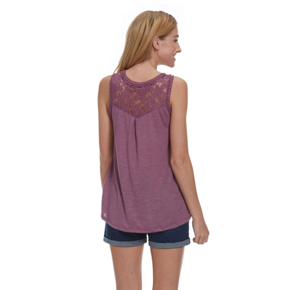 TAYLOR AND SAGE Juniors' Diamond Print Lace Tank - MULLED PLUM