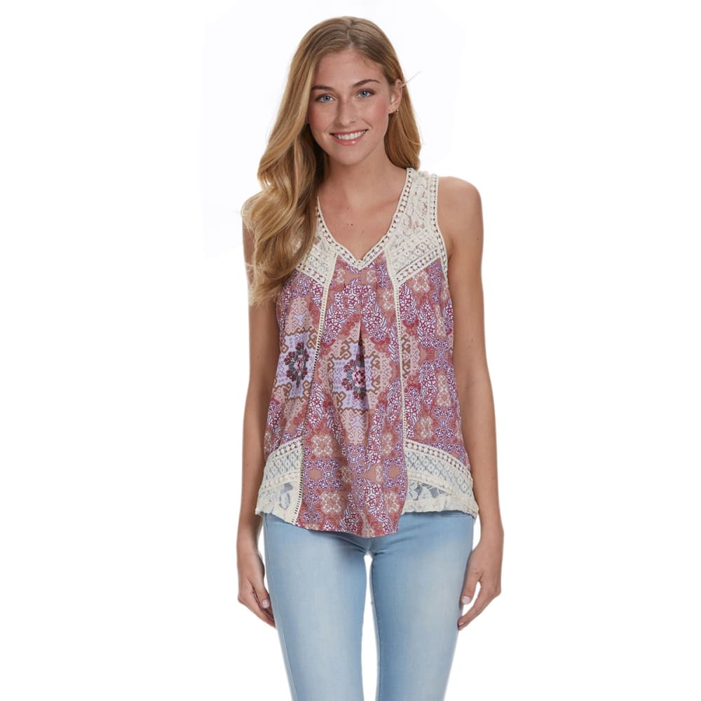 TAYLOR AND SAGE Juniors' Bohemian Print Tank - HEATHER GREY/PEACH