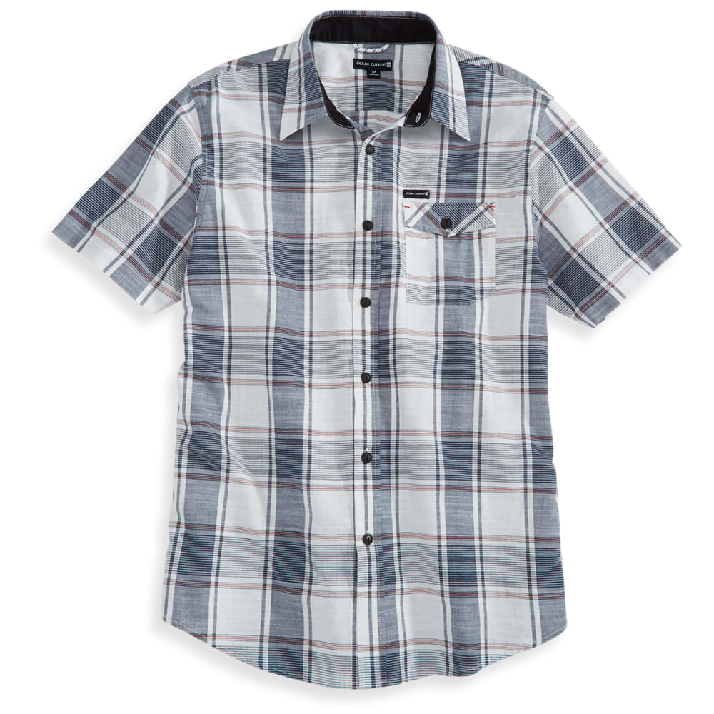 OCEAN CURRENT Guys' Short-Sleeve Akajima Plaid Shirt - WHITE