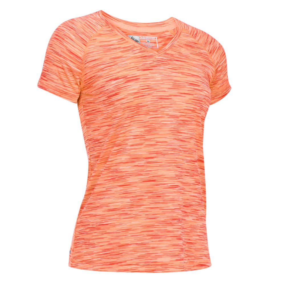 RBX Women's Space Dye V-Neck Top - FIERY CORAL-A