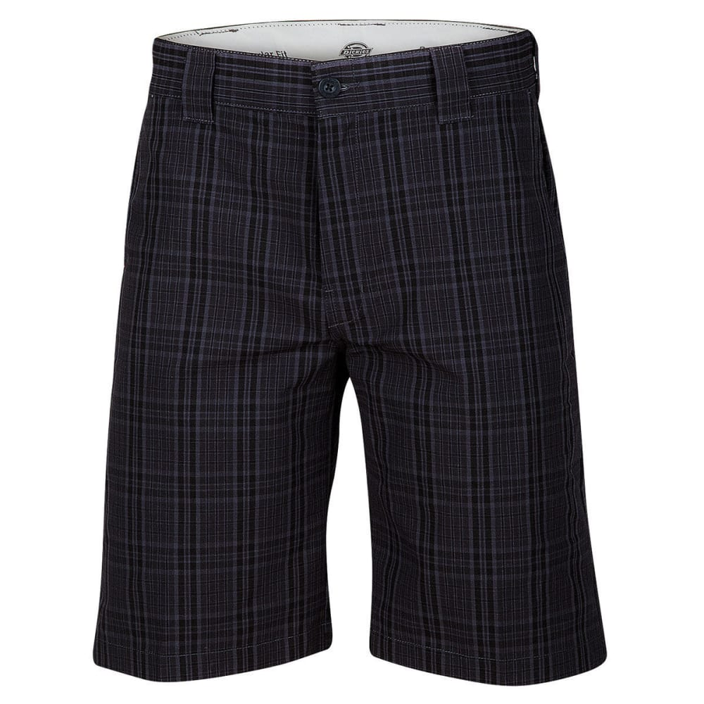 DICKIES Men's 11 in. Regular Fit Plaid Work Shorts - PCH CHARCOAL