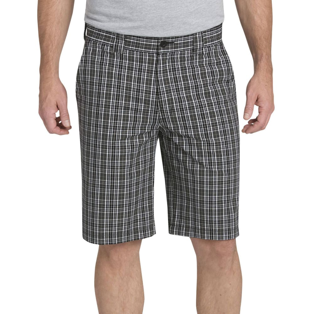 DICKIES Men's 11 in. Regular Fit Plaid Work Shorts - YEP GREY SMOKE PLAID