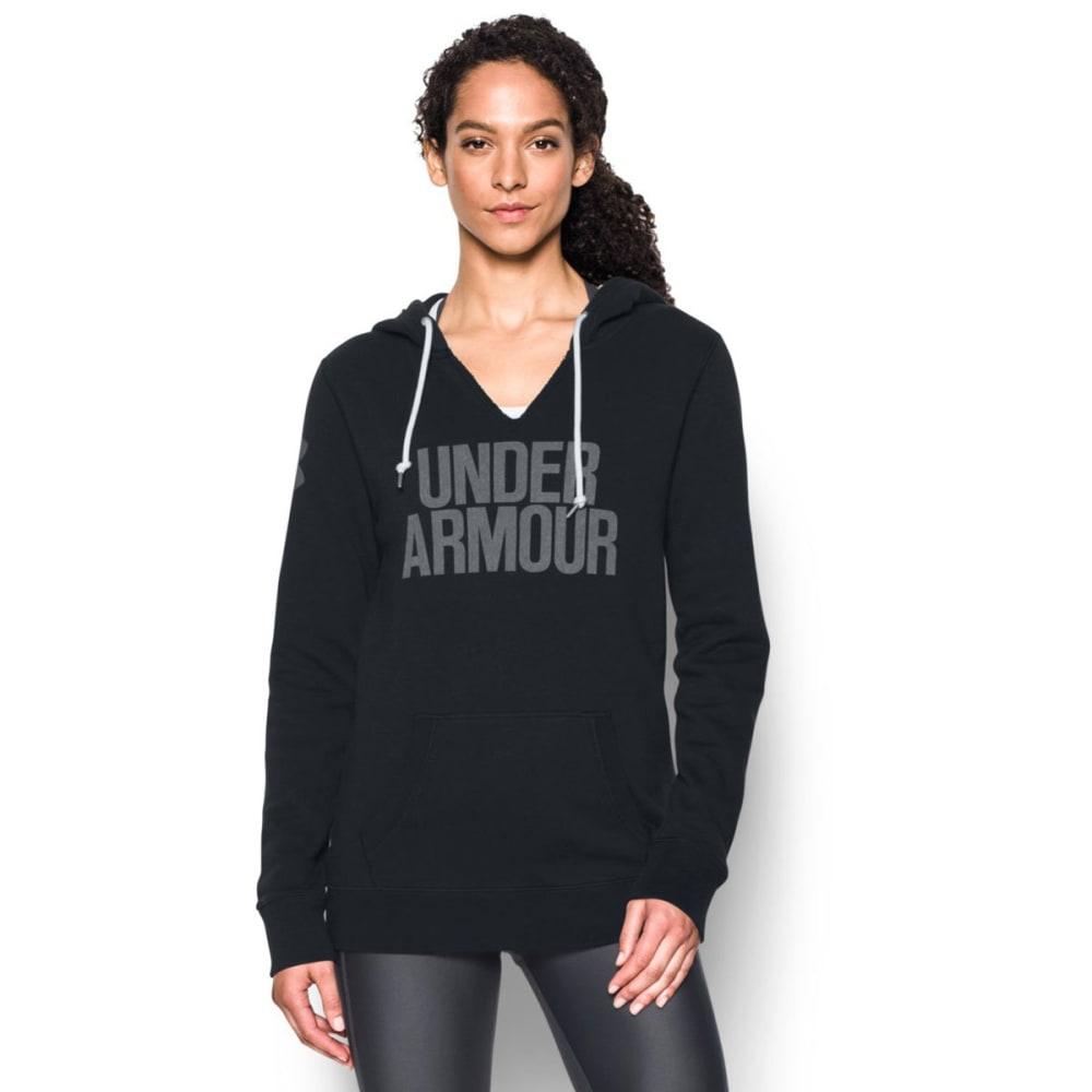 UNDER ARMOUR Women's Favorite Fleece Word Mark Popover - BLACK/WHITE 001