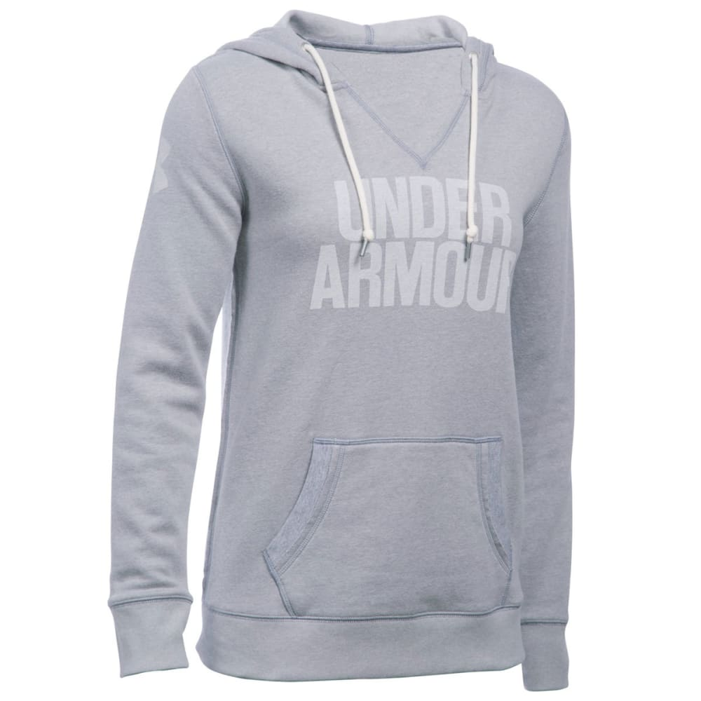 UNDER ARMOUR Women's Favorite Fleece Word Mark Popover - TRUE GREY/WHITE 025