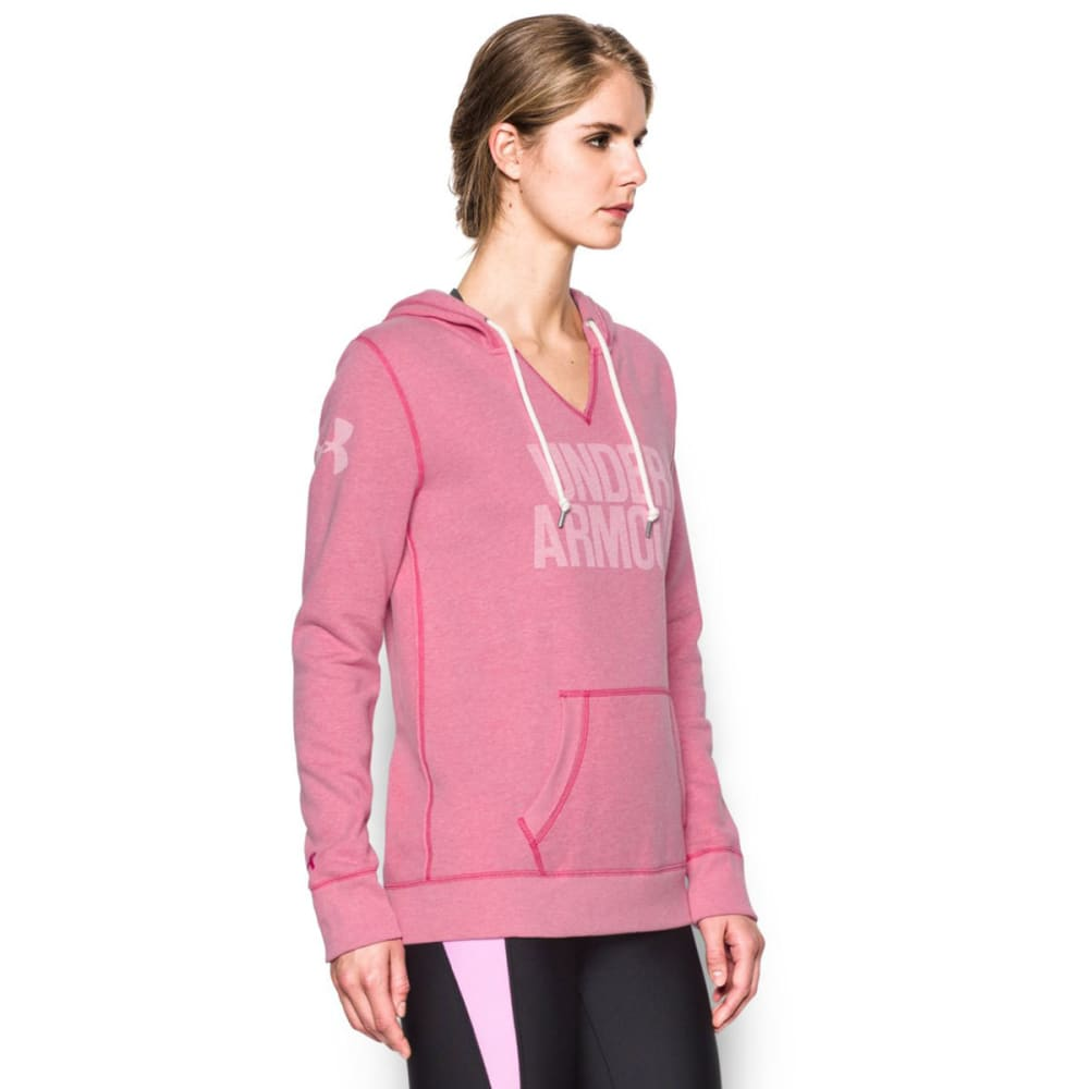 UNDER ARMOUR Women's Favorite Fleece Word Mark Popover - TROPIC PINK/WHT 654