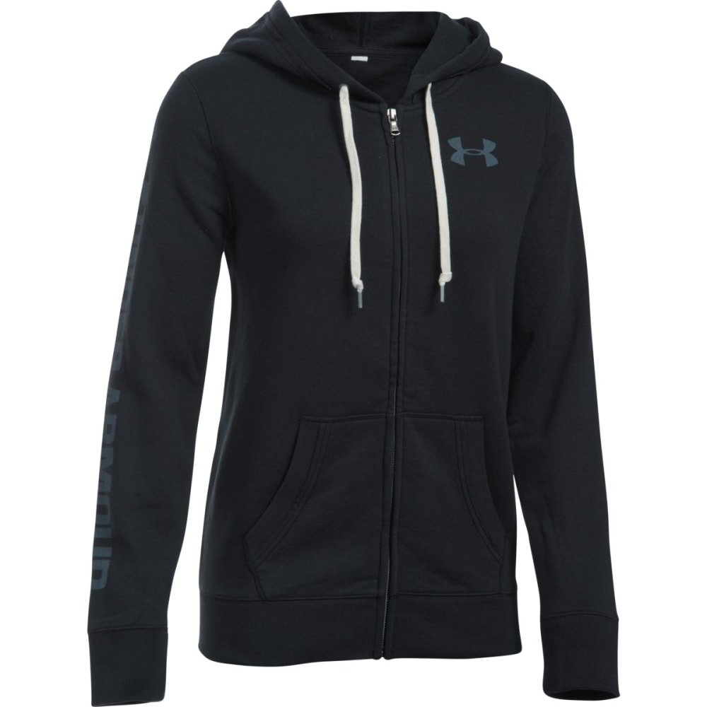 UNDER ARMOUR Women's Favorite Fleece Full-Zip Hoodie - BLACK/WHT 001