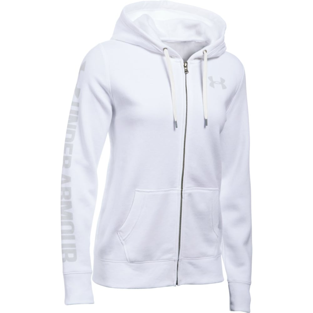 UNDER ARMOUR Women's Favorite Fleece Full-Zip Hoodie - WHITE/ELEMENTAL 100