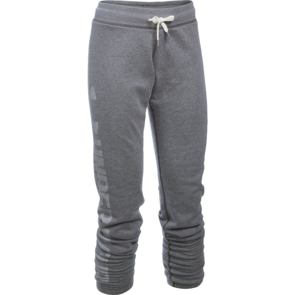 UNDER ARMOUR Women's Favorite Fleece Pants - CARBON/WHT 090