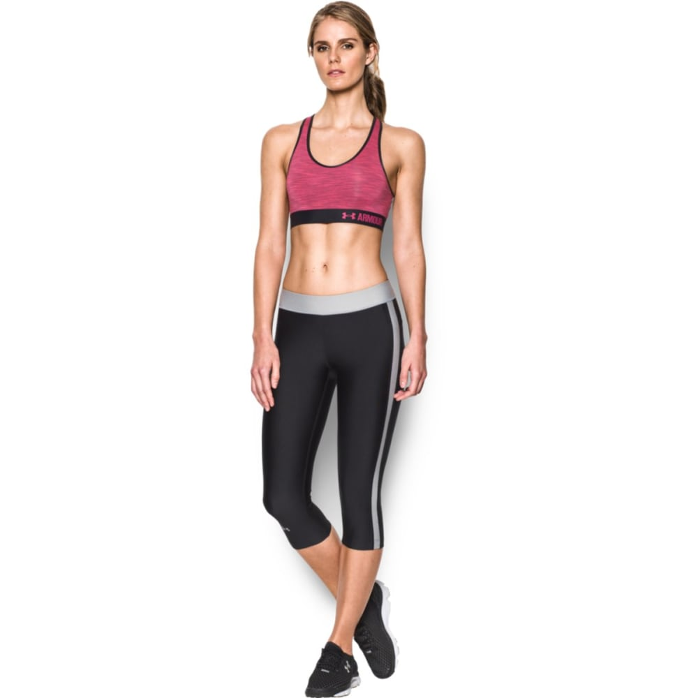 UNDER ARMOUR Women's Mid Support Space-Dye Sports Bra - BLACK/PINK SKY 002