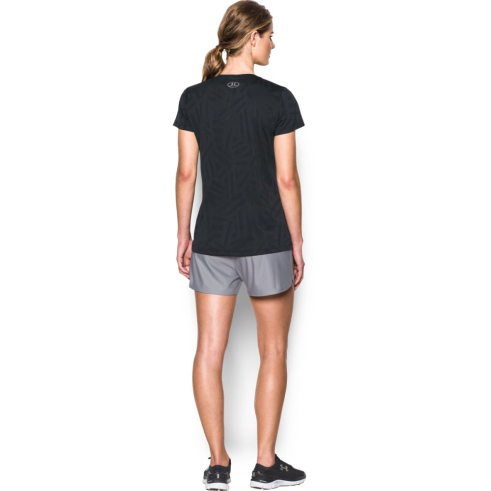 UNDER ARMOUR Women's Tech Jacquard Print V-Neck Tee - BLACK 001