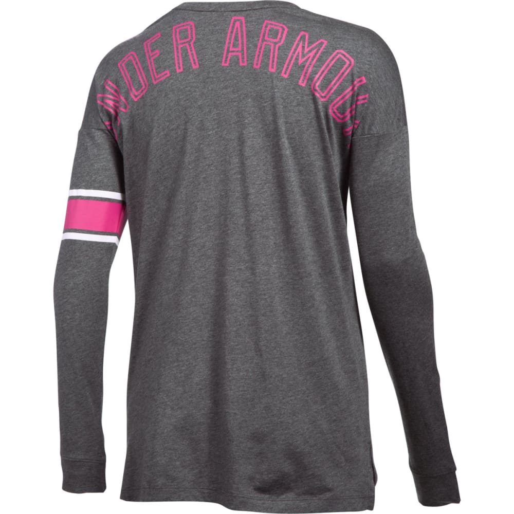 UNDER ARMOUR Women's Power in Pink Favorite Long-Sleeve Tee - CARBON/WHT 090