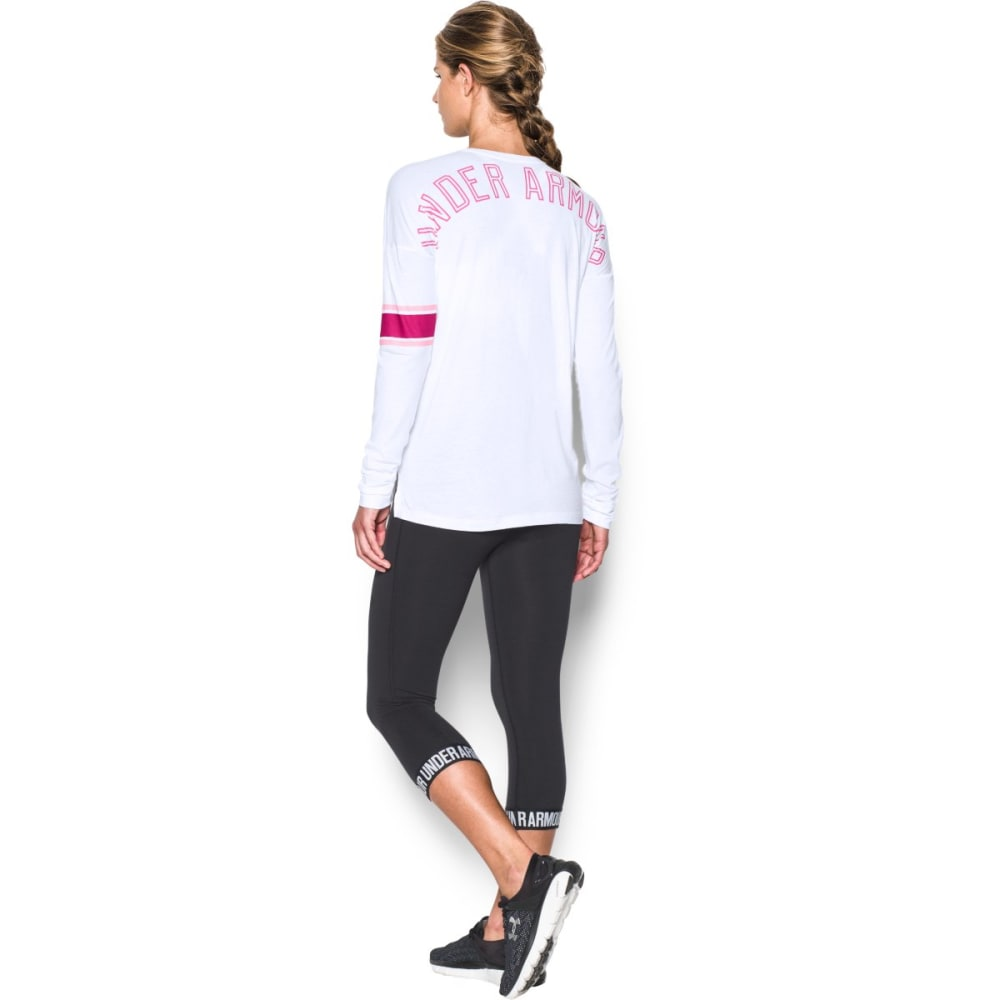 UNDER ARMOUR Women's Power in Pink Favorite Long-Sleeve Tee - WHITE/PINK 100