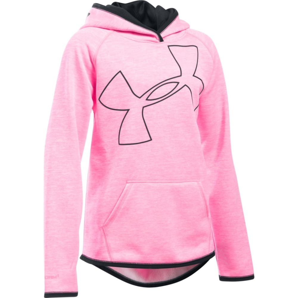 UNDER ARMOUR Girls' Fleece Novelty Big Logo Hoodie - PINK PUNK-640