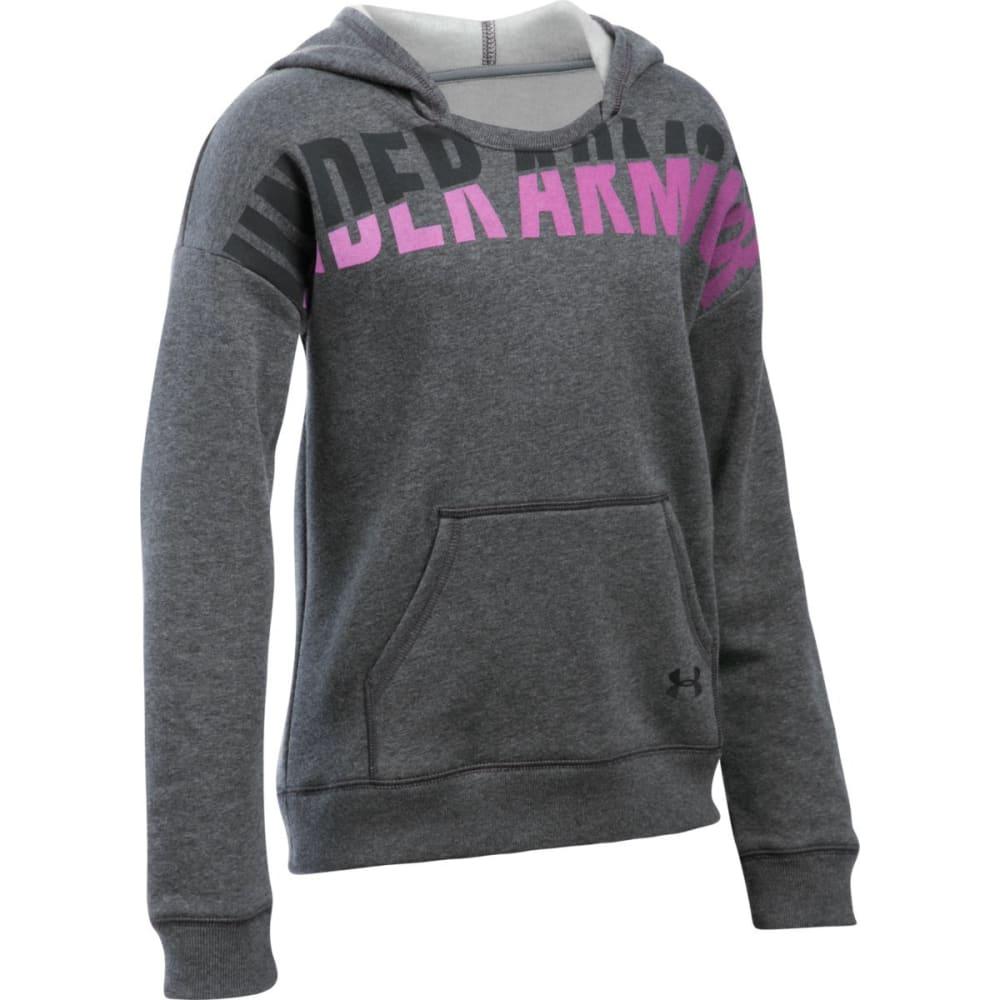 UNDER ARMOUR Girls' Favorite Fleece Hoodie - CRBN HTHR/BLK-090