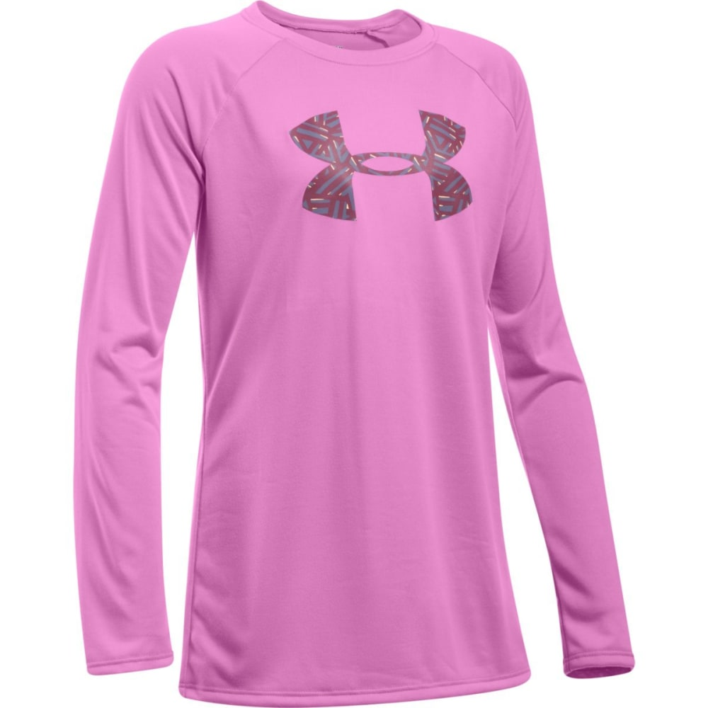 UNDER ARMOUR Girls' Big Logo Long-Sleeve Tee - VERVE VIOLET-723