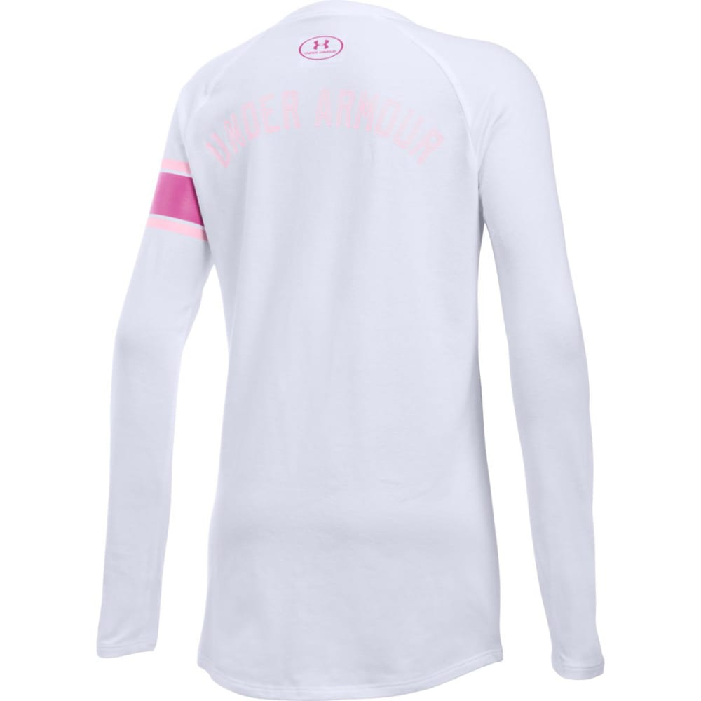 UNDER ARMOUR Girls' Power In Pink Ribbon Long Sleeve Tee - WHT/PNK/TROPIC-100