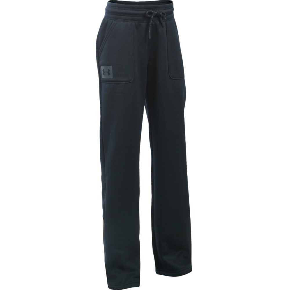 UNDER ARMOUR Girls' Fleece Boyfriend Pants - BLACK/STEALTH-001