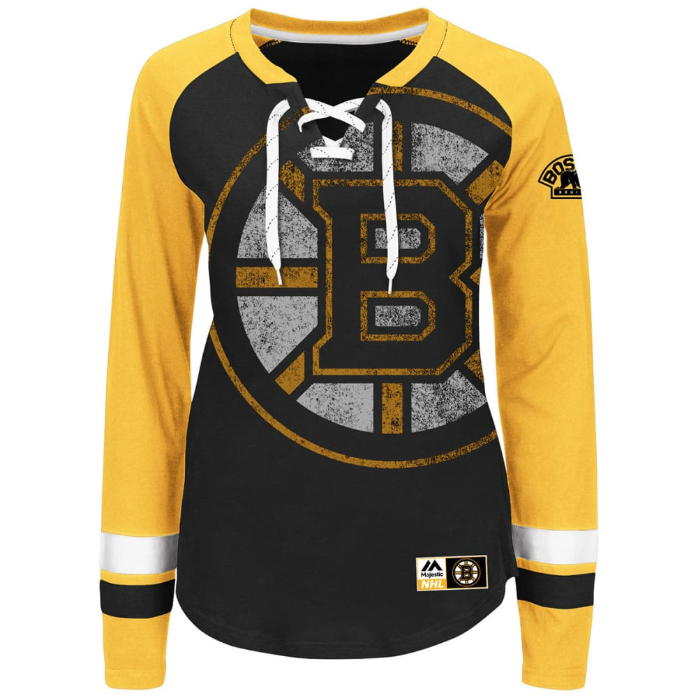 BOSTON BRUINS Women's Hip Check Lace Up Long Sleeve Tee - BLACK