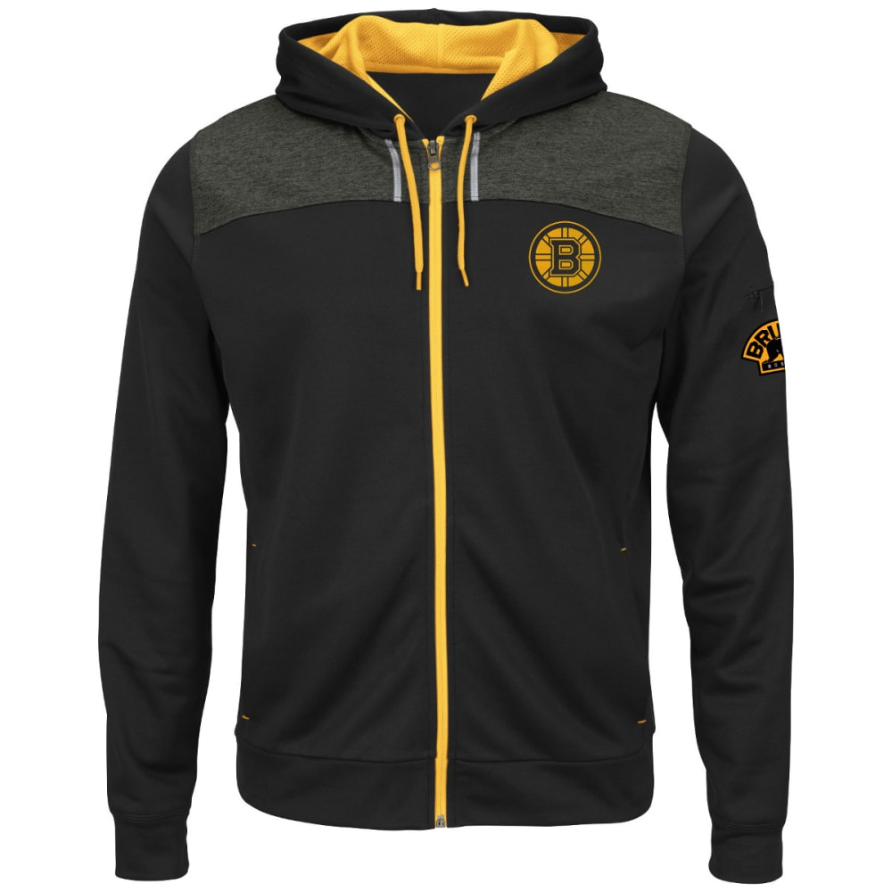 BOSTON BRUINS Men's Hash Marks Fleece Full-Zip Hoodie - BLACK