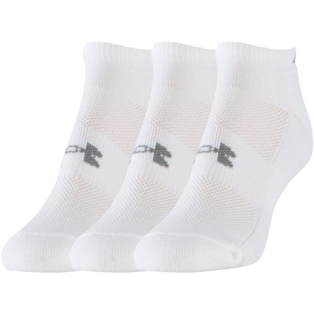UNDER ARMOUR Women's HeatGear® Cushion No Show Socks, 3 Pack - WHITE