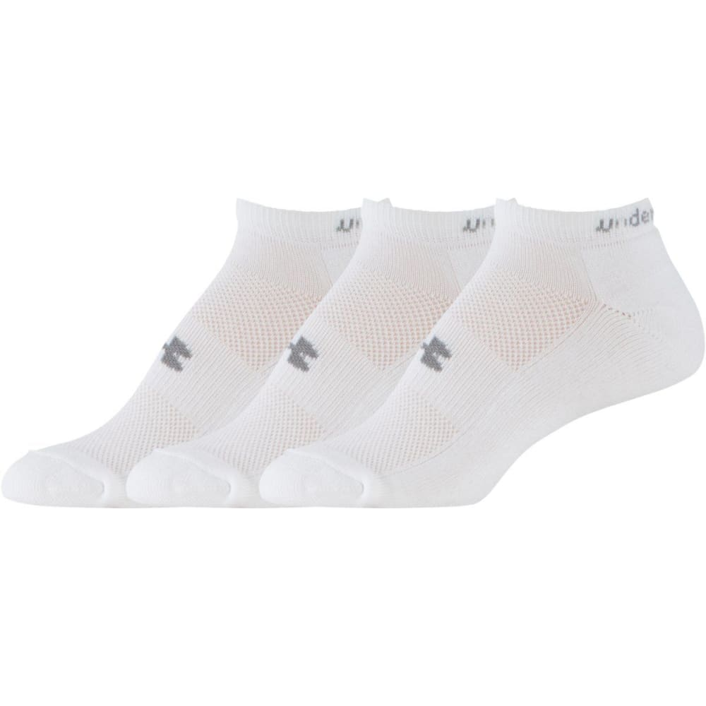 UNDER ARMOUR Women's HeatGear® Cushion Low Cut Socks, 3 Pack - WHITE