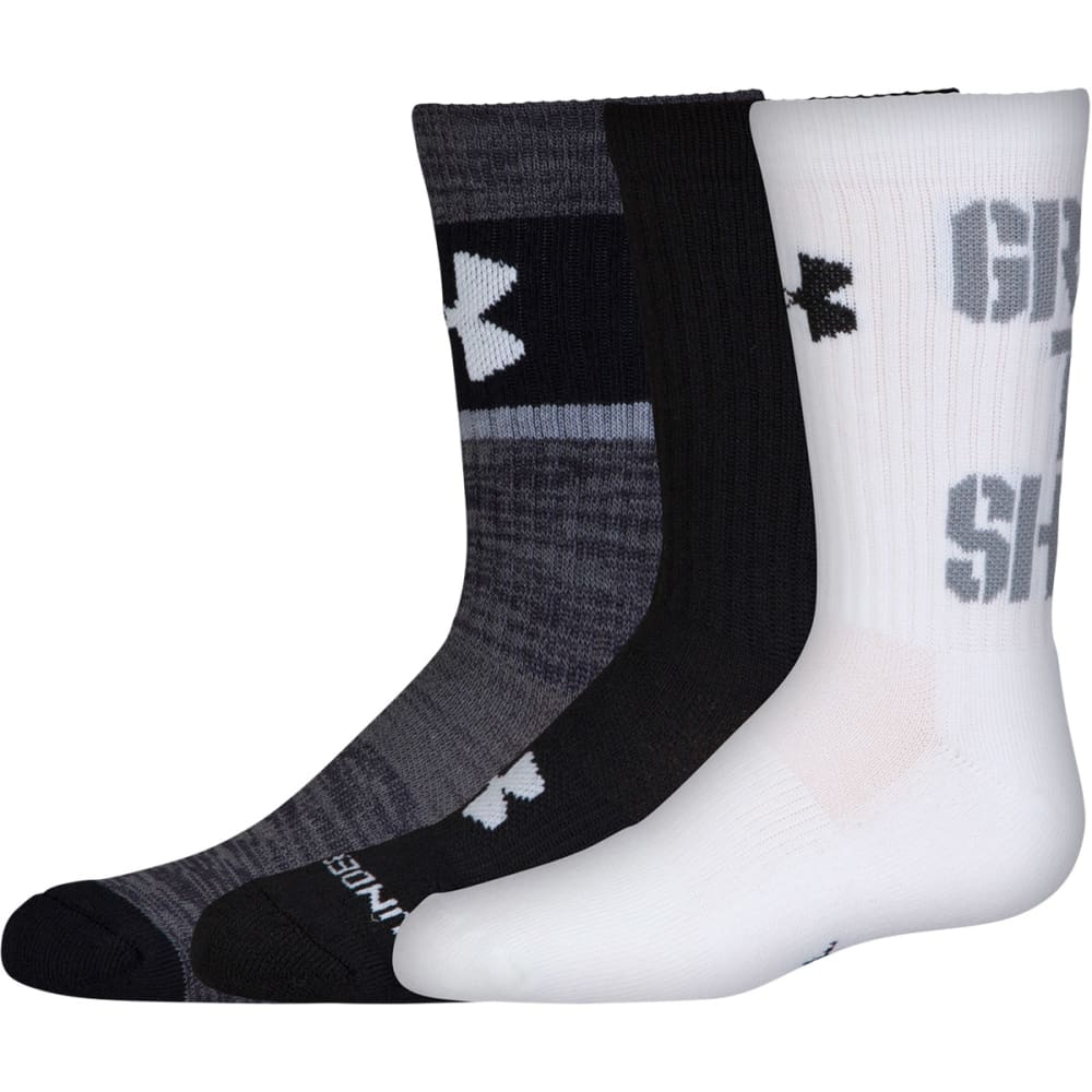 UNDER ARMOUR Boys' Grade School Next Statement 2.0 Crew Socks, 3 Pack - 960-WHITE