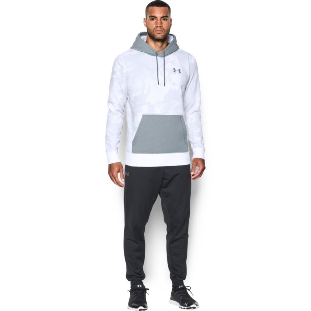 UNDER ARMOUR Men's Rival Fleece Printed Hoodie - WHITE/STEEL-100