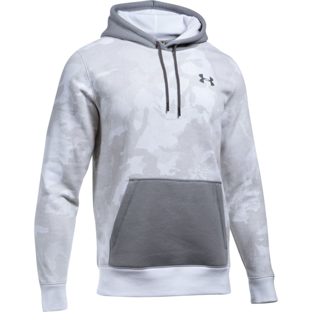 UNDER ARMOUR Men's Rival Fleece Printed Hoodie - WHITE/STEEL-100