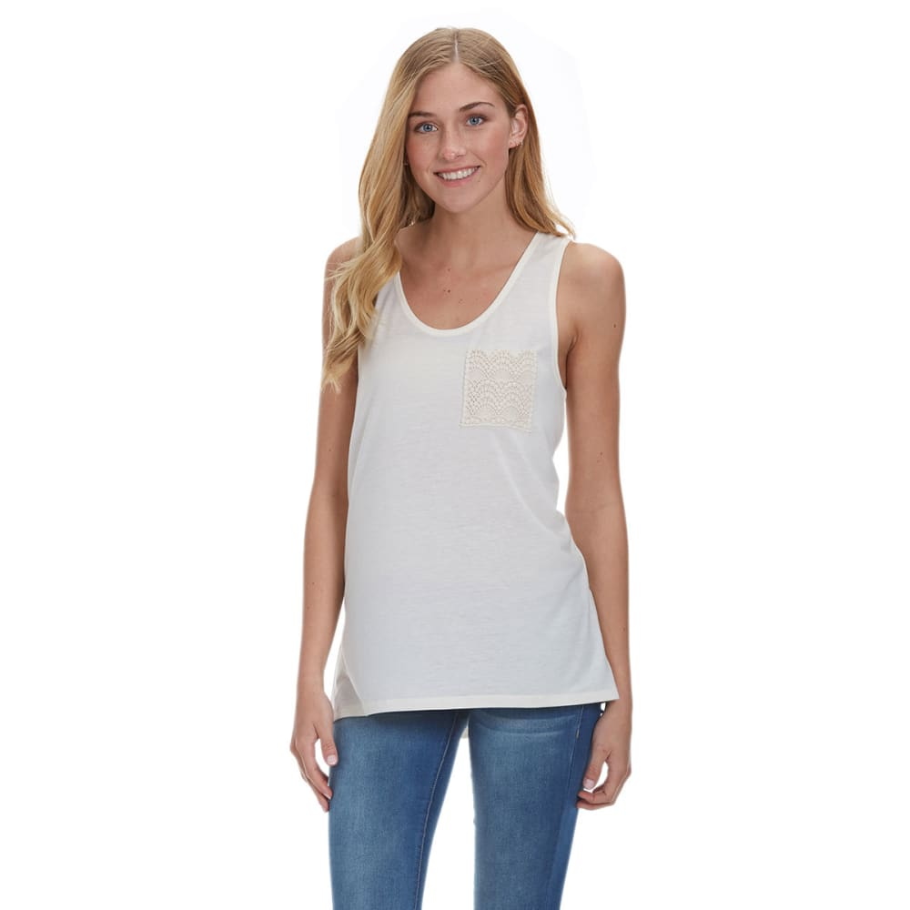 COLD CRUSH Juniors' Crochet Pocket Tank - PEARL/NATURAL