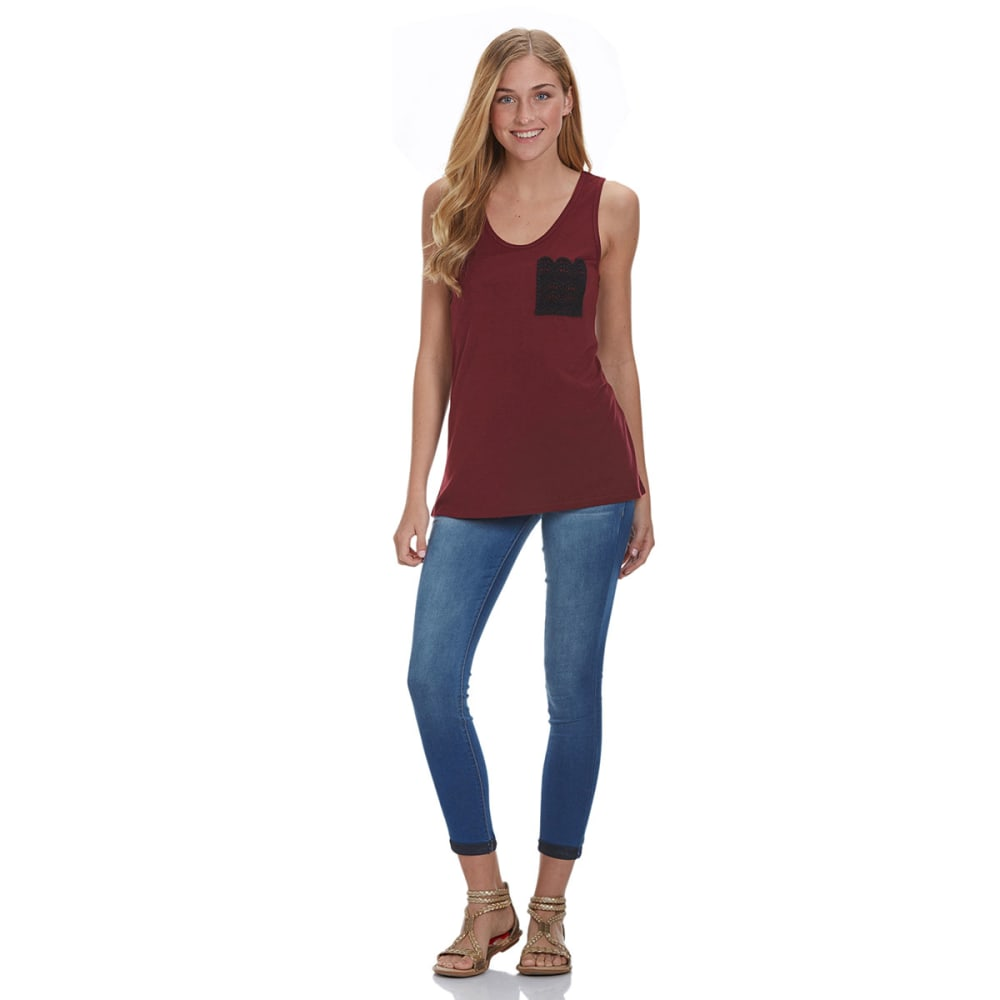 COLD CRUSH Juniors' Crochet Pocket Tank - WINE/BLACK