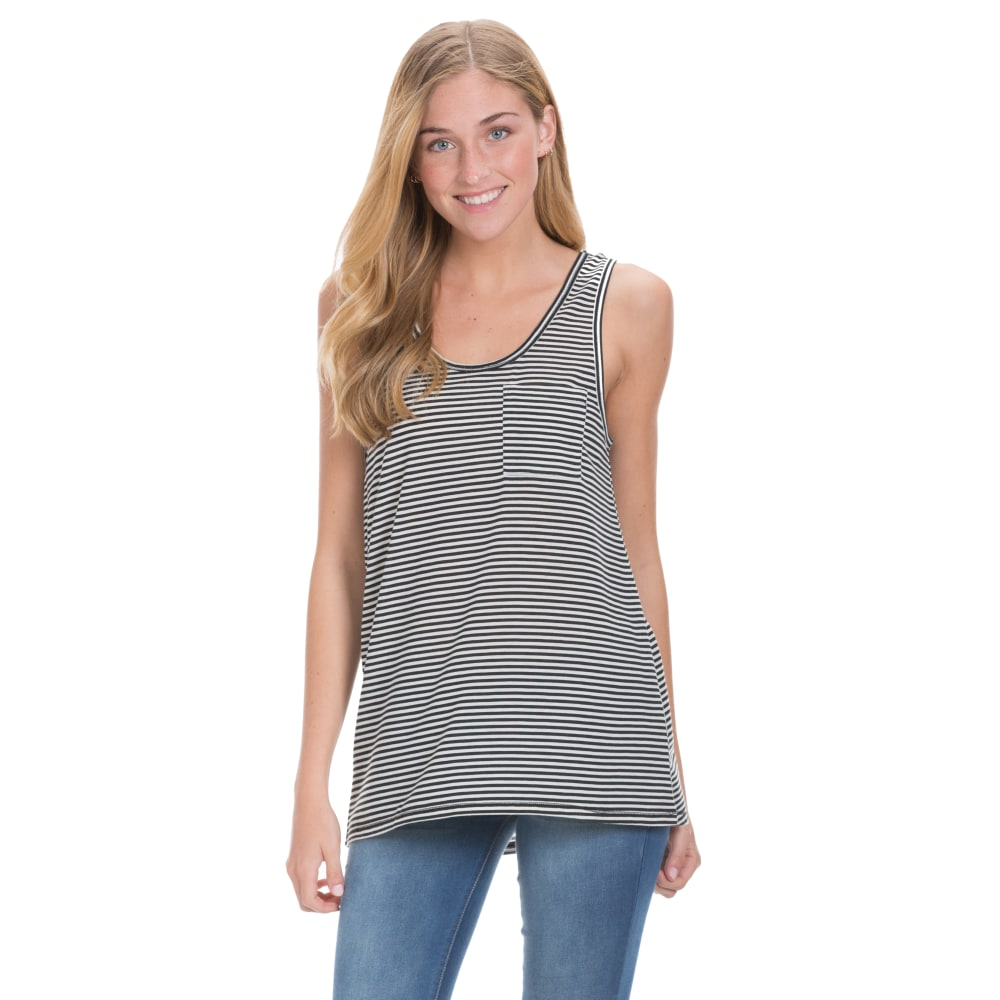 COLD CRUSH Juniors' Striped Pocket Tank - IVORY/BLACK