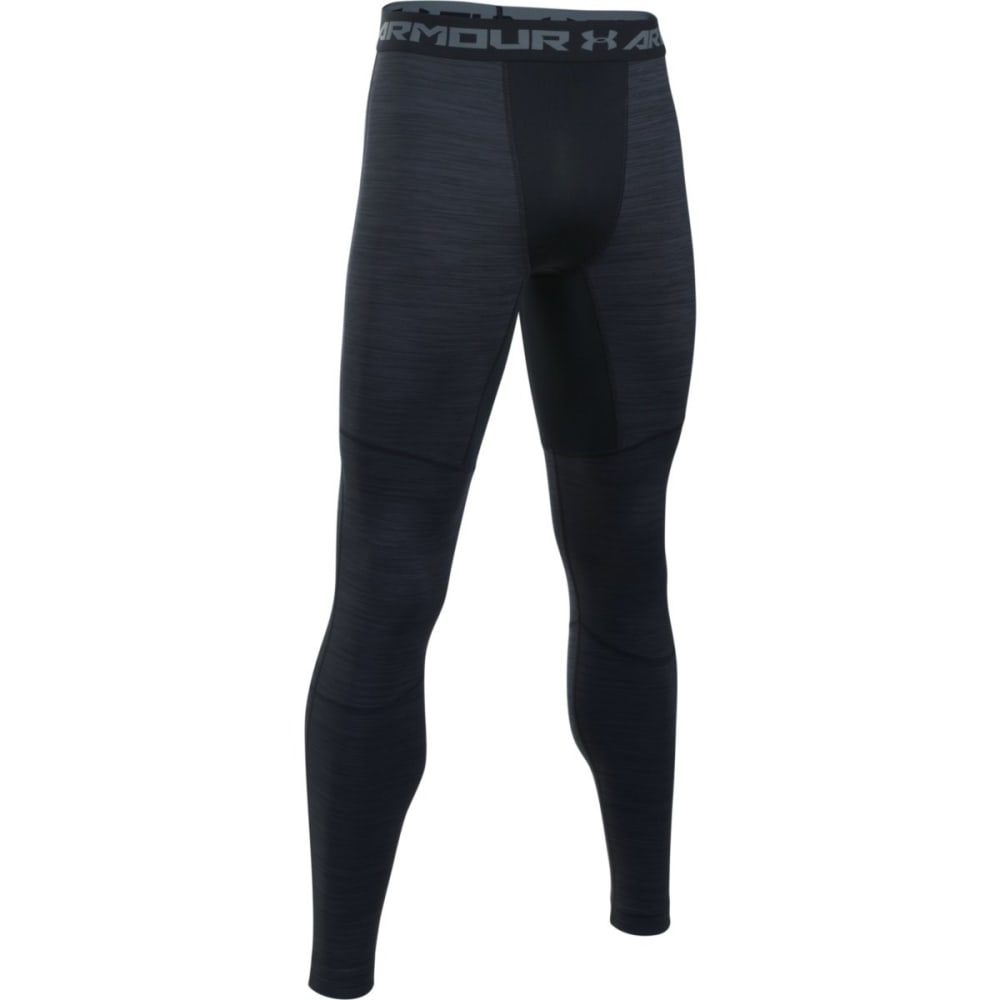 UNDER ARMOUR Men's ColdGear Armour Twist Compression Leggings - BLACK/STEEL-001