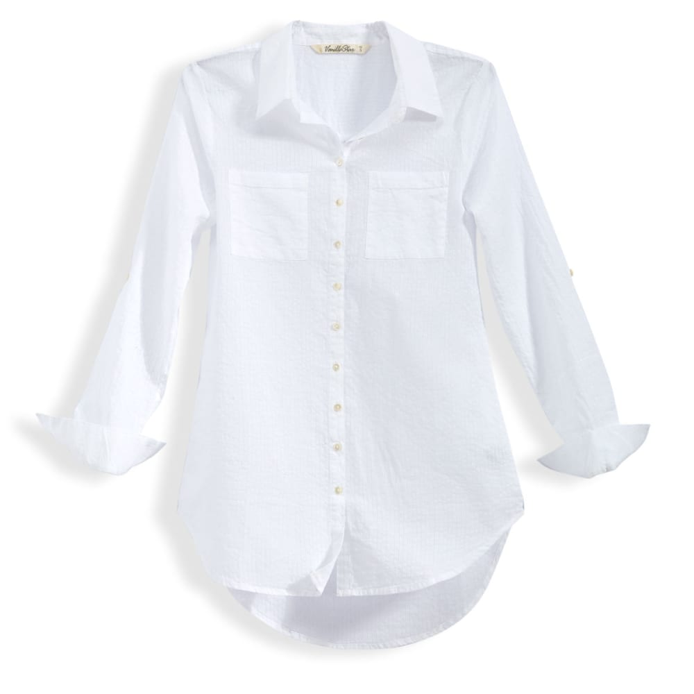 VANILLA STAR Juniors' Roll Sleeve Button Down Tunic - WHITE SHADOW STRIPE