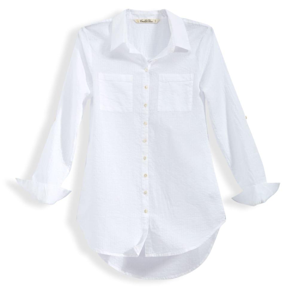VANILLA STAR Juniors' Roll Sleeve Button Down Tunic - WHITE SHADOW STRIPE