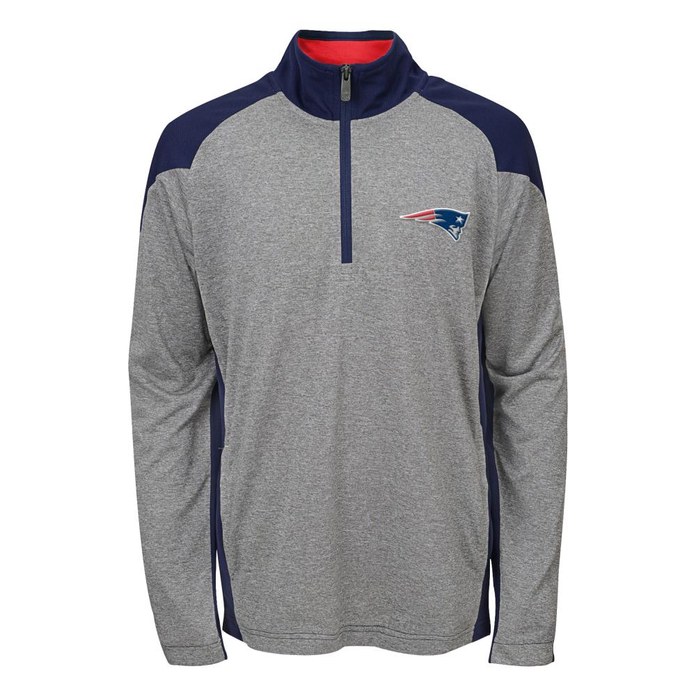 NEW ENGLAND PATRIOTS Boys' DNA ¼ Zip Jacket - GREY