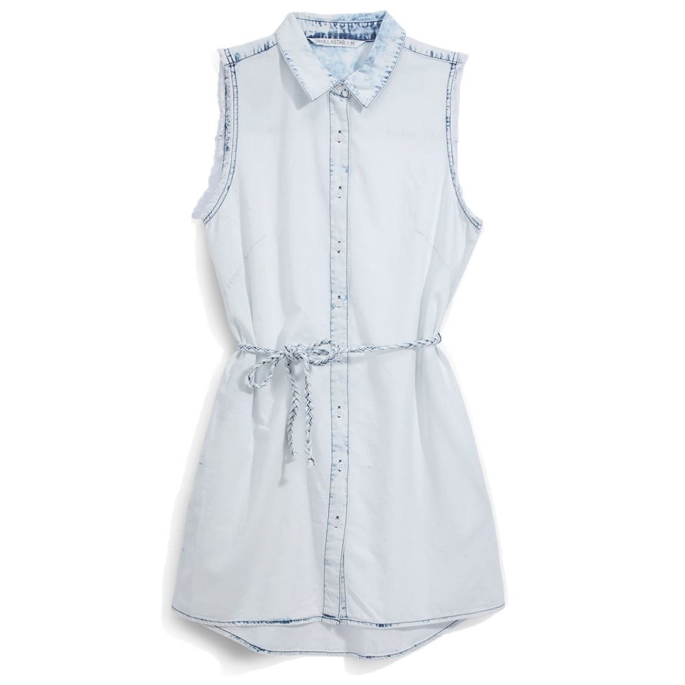 VANILLA STAR Juniors' Chambray Shirt Dress with Braided Tie - CHAMBRAY