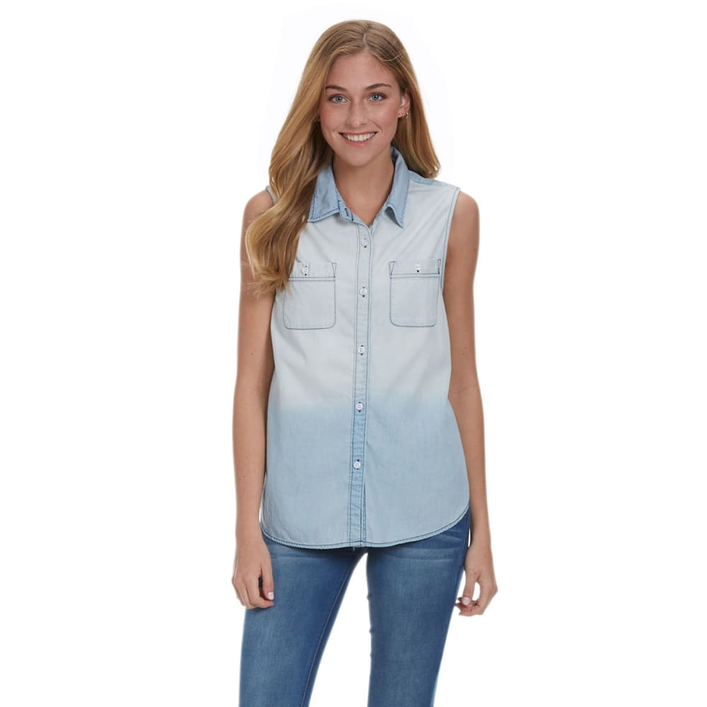 VANILLA STAR Juniors' Chambray Button-Down Sleeveless Shirt - FL-DIPDYE