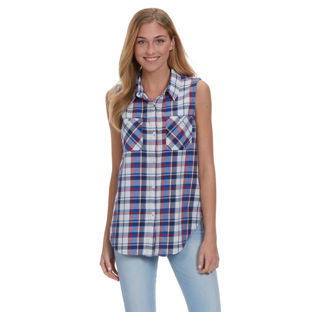 VANILLA STAR Juniors' Plaid Sleeveless Button Down Shirt - P108- BLUE/RED COMBO