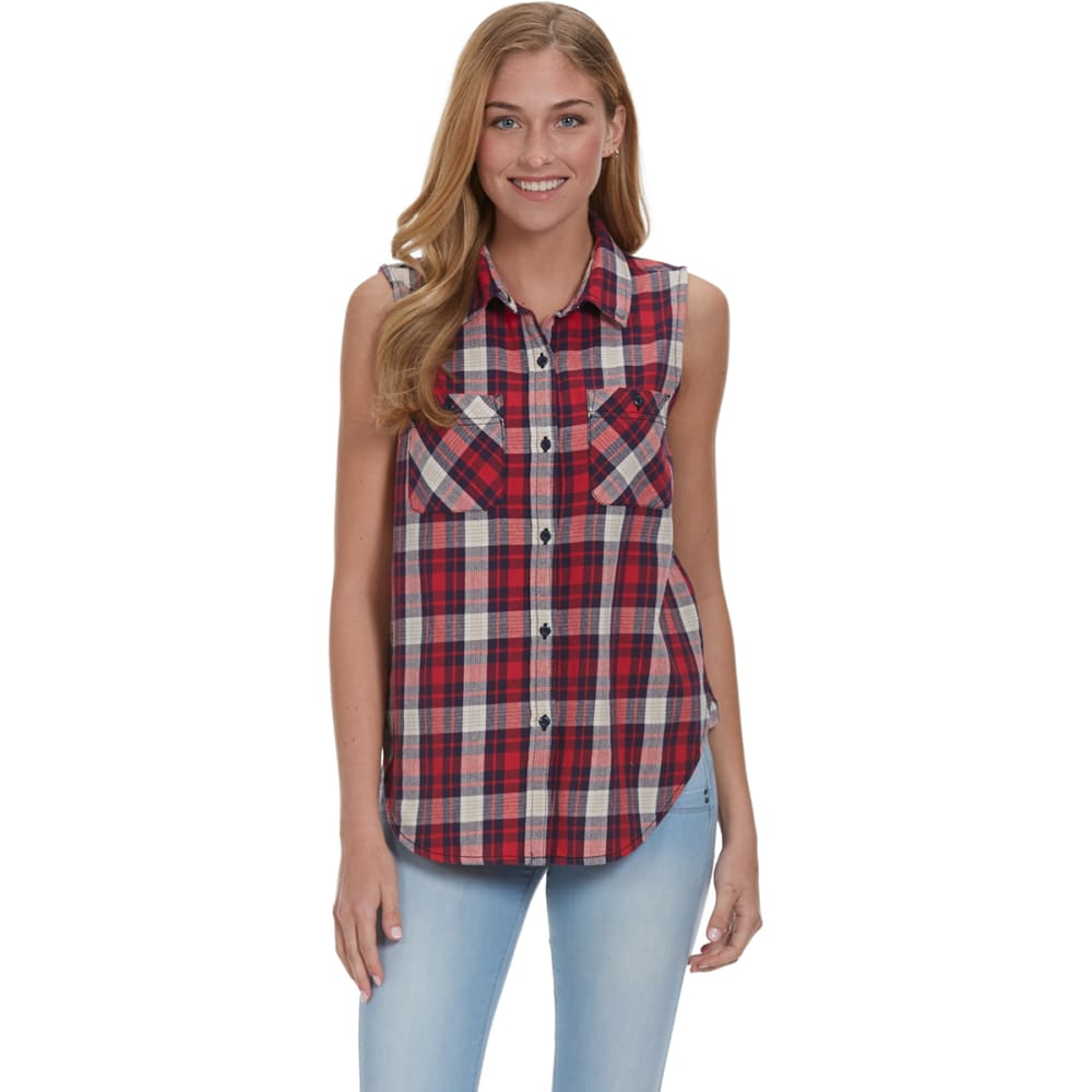 VANILLA STAR Juniors' Plaid Sleeveless Button Down Shirt - P161- RED COMBO